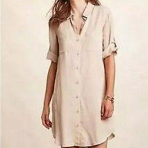 Anthro Cloth & Stone Linen Button Down Shirt Dress